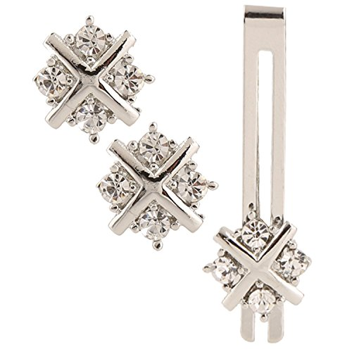 Shaped Diamond Cufflinks (TRIPIN Men's Silver Unique Shaped Cufflink Set With Diamonds Crystals Matching Tie Pin In A Gift Box.)