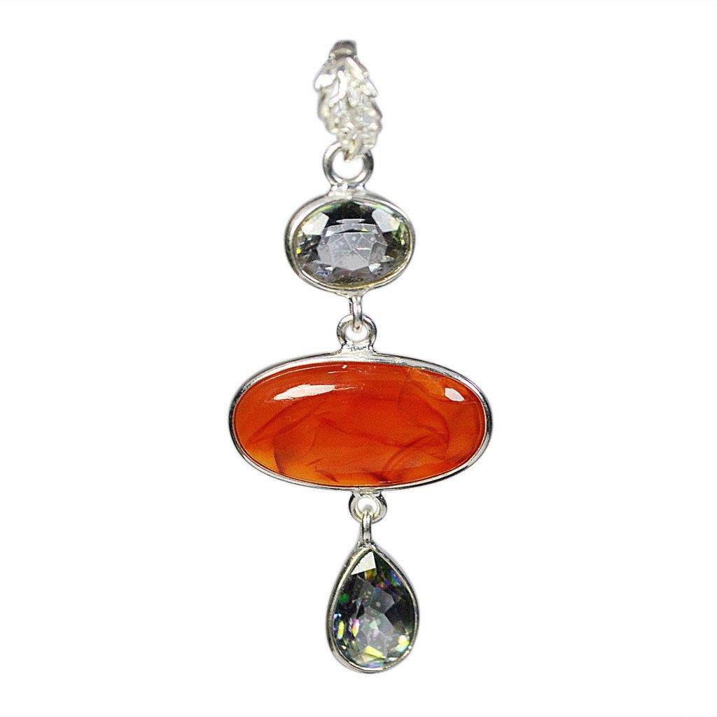 Carnelian /& Mystic Quartz Pendant 925 Solid Silver Women Jewelry CCIPN-1656