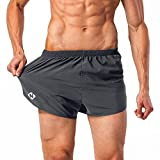 NAVISKIN Men's Lightweight Quick Dry Running Shorts Training Pace Shorts Grey Size M
