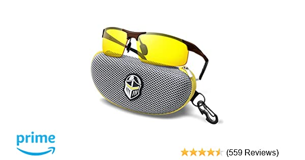 ebee9a5eb Amazon.com : BLUPOND Night Driving Glasses - Semi Polarized Yellow Tint HD  Vision Anti Glare Lens - Unbreakable Metal Frame with Car Clip Holder -  Knight ...