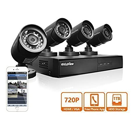 Amazon.com : LaView 4 HD 720P Camera Security System, 4 Channel ...