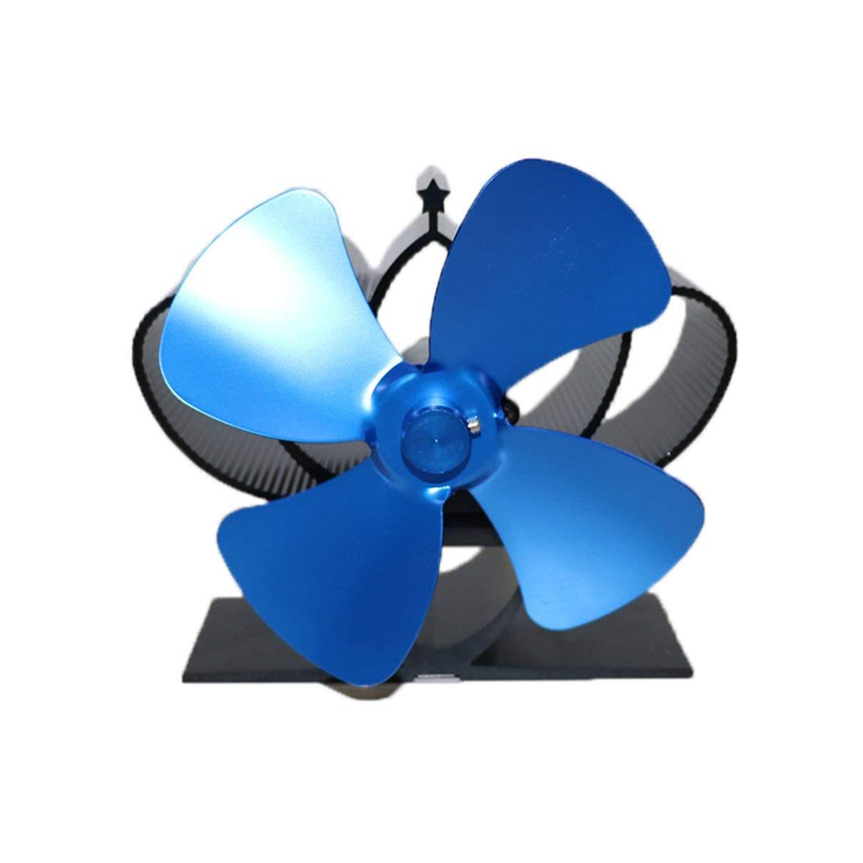 Azul GHFHF YL201 Ventilador de chimenea de energ/ía t/érmica Ventilador de estufa de le/ña alimentado por calor para le/ña//quemador de le/ña//chimenea Ventiladores ecol/ógicos de cuatro hojas