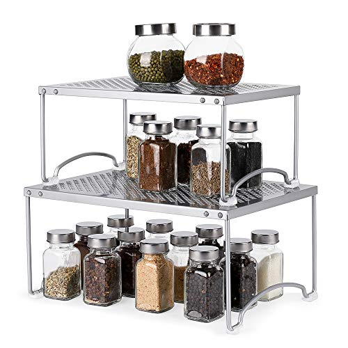 (NEX Kitchen Cabinet and Counter Shelf Organizer, Non-Slip, Stackable & Expandable )