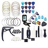 61 PCS Guitar Accessories Kit, Guitar Strings Changing Kit, Guitar Tool Kit Including Acoustic Guitar Strings, Picks, Capo, Thumb Finger Picks, String Winder, Bridge Pins, Pin Puller, Pick Holder