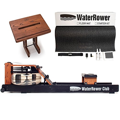 Waterrower Club Rowing Machine Bundle - S4 Monitor, Laptop Stand and External Starter Kit