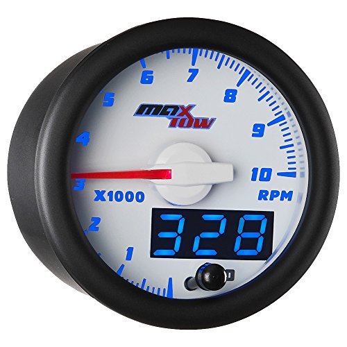 - MaxTow Double Vision 10,000 RPM Tachometer Gauge - for 1-10 Cylinder Gas Powered Engines - White Gauge Face - Blue LED Illuminated Dial - Analog & Digital Readouts - 2-1/16