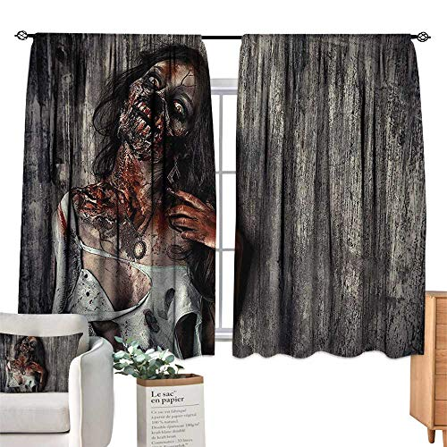 RuppertTextile Thermal Insulated Drapes for Kitchen/Bedroom Zombie,Angry Dead Woman Sacrifice Fantasy Design Mystic Night Halloween Image,Dark Taupe Peach Red Set of Two Panels 63
