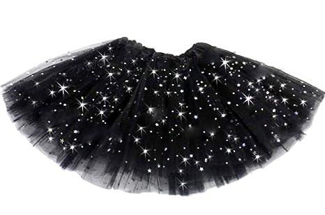 Falda - tul - niña - negro - falda - carnaval - brillo - 2 capas ...