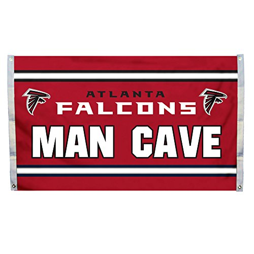 NFL Atlanta Falcons Man Cave 3 x 5 Flag with 4 Grommets, Team Color,