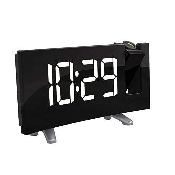 AOZBZ Reloj Despertador de proyección, Reloj de Radio FM Reloj Despertador de Despertador Digital Alarmas Dobles Puerto USB Carga con Pantalla LED Regulable ...