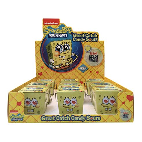 SpongeBob Great Catch Candy Sours Strawberry Lemonade flavored candy hearts shape (1 pc)]()