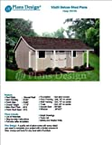 12' x 20' Storage Shed with Porch Plans for Backyard Garden - Design #P81220