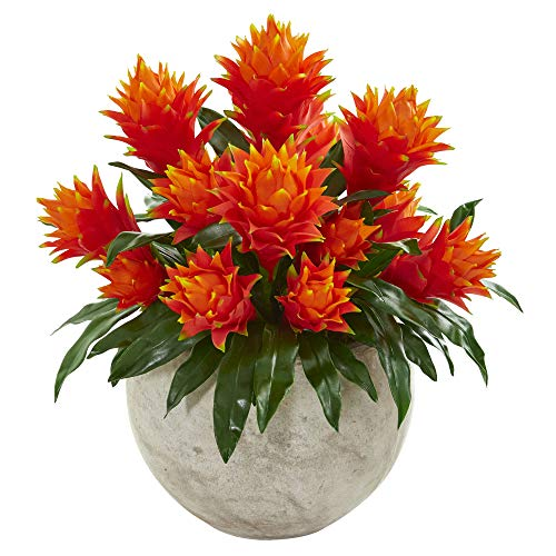 Nearly Natural 8566 Bromeliad Artificial Sandstone Bowl Silk Plants Red (Bromeliad Plant Silk)