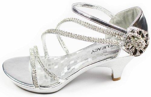 V AG Flower JJF Crystal Ankle Low Rhinestone Evening Shoes Strappy Heel Dress 10 Sandals Luxury Silver qtrYtR