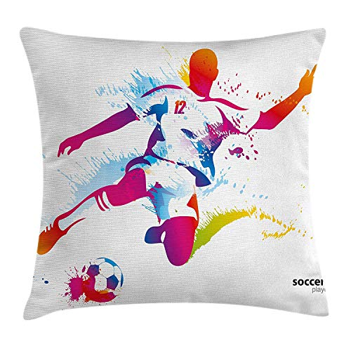 Queen Area Teen Room Decor Soccer Player Kicks the Ball Watercolor Style Spray Championship Square Throw Pillow Covers Cushion Case for Sofa Bedroom Car 18x18 Inch, Multicolor by Queen Area
