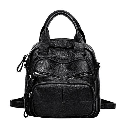 Women Ladies Convertible Crossbody Casual Leather Fashion Bag Washed Handbags PU Xinwcang Shoulder Backpack Purse Black Rucksack Cwd0Rd