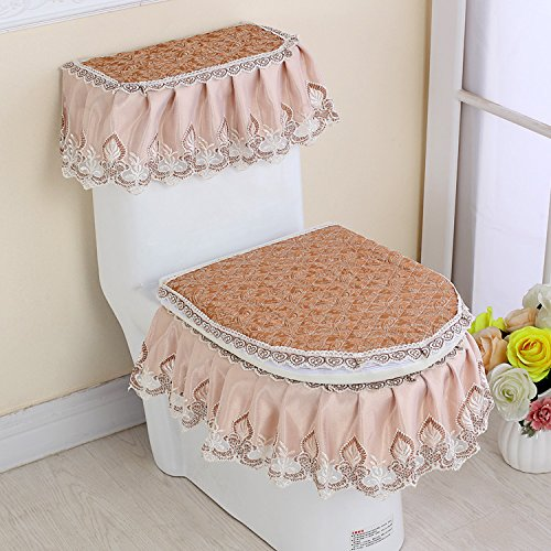 MKSFY Toilet Seat Cover 3 Sets Of Cloth Padded Universal Pad Zipper Continental Toilet Lace, Red Butterfly Coffee color