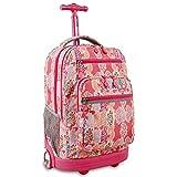 J World New York Sundance Laptop Rolling Backpack, Pink Forest
