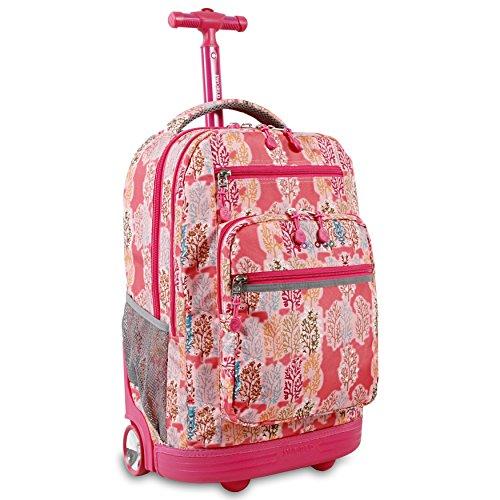 Friends Rolling Backpack (J World New York Sundance Laptop Rolling Backpack, Pink Forest)