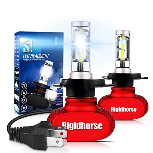 H4 LED Headlight Bulb With CSP Chips Rigidhorse 60W 8500LM 6500K (9003,HB2) Cool White Hi/Lo Beam LED Headlight Bulbs All-in-One Conversion Kit, Red
