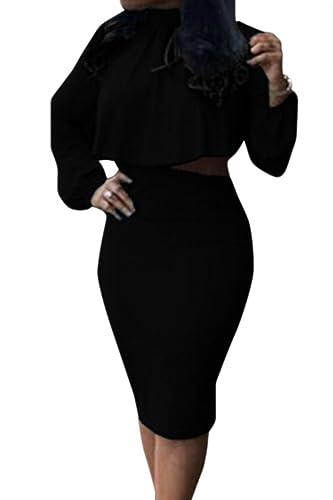VOGRACE Women's High Neck Cloak Cape Top Bodycon Skirt 2 Pieces Outfit Dress
