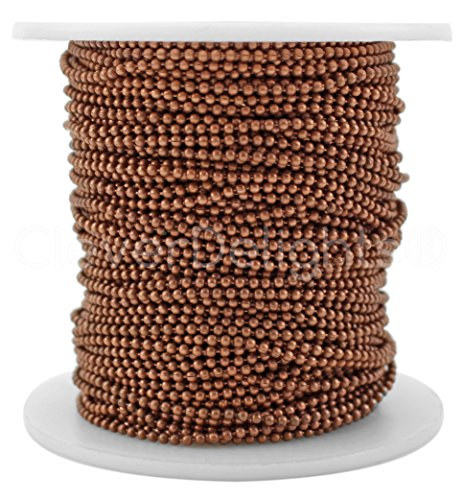 Chain Spool - 30 Feet - 1.5mm Ball (Small) - Antique Copper Color - 10 Meters (Copper Ball Chain)
