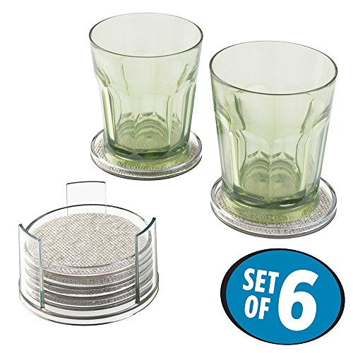 mDesign 2 Sets of Woven Textured Decorative Drink Coasters with Holders - Protect Tabletops and Furniture from Water Marks and Damage - Set of 12, Metallic/Clear
