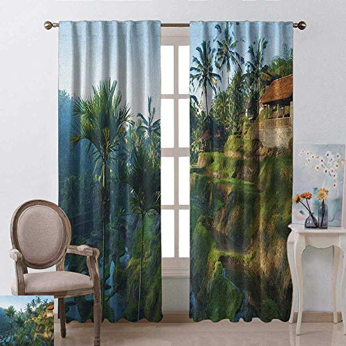youpinnong Balinese, Curtains x Pattern, Terrace Rice Fields Palm Trees Traditional Farmhouse Morning Sunrise Bali Indonesia, Curtains Kids Bedroom, W72 x L108 Inch, Green