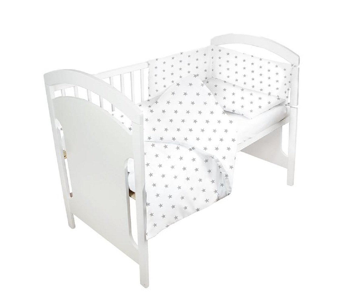 Baby Cot Bumper 180 cm Nursery Wrap Around Protection Luxury Bedding 100% Cotton Breathable (white) Amazinggirl