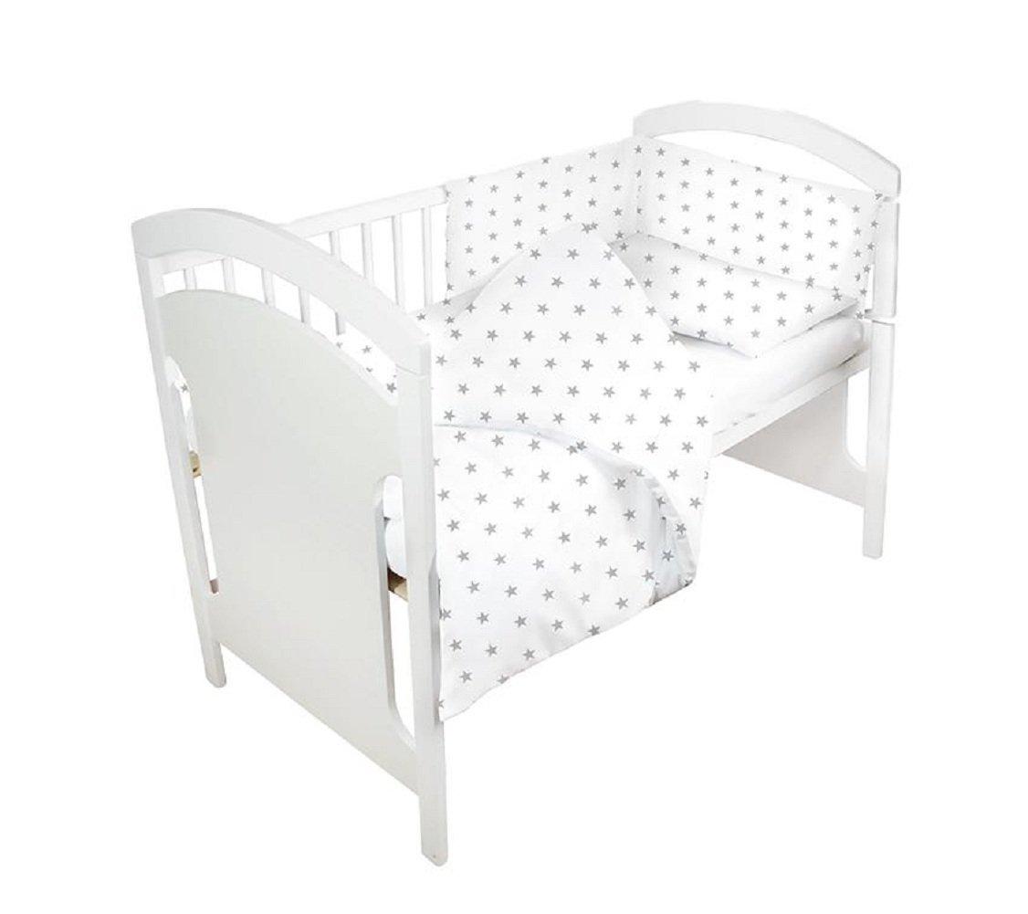 Baby Cot Bumper 180 cm Nursery Wrap Around Protection Luxury Bedding 100% Cotton Breathable (grey) Amazinggirl