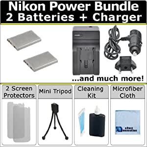 Complete Deluxe Starter Kit for Nikon Coolpix 3700 4200 P3 P4 S10 P80 P90 P100 P500 P510 P520 5200 5900 7900 P5000 P5100 P6000 P350 Camera + 2 EN-EL5 Batteries + AC/DC Turbo Charger with Travel Adapter