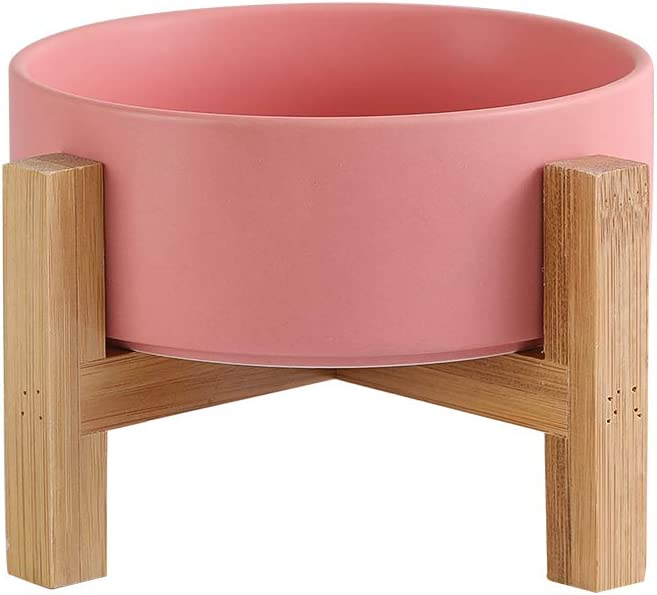Pink Ceramic Elevated Raised Cat Bowls ,Cat Food Dish with Stand, Raised Cat Food or Water Bowls Anti Vomiting,Pet Bowl with Anti Slip Rubber pad,Stress Free for Cats and Small Dogs(400ML/13.5OZ)