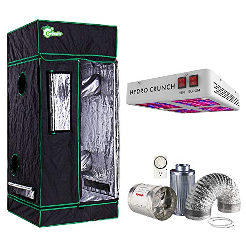Hydro Crunch 600-Watt Equivalent Grow/Bloom Full Spectrum LED Plant Grow Light Fixture with Grow Tent and Ventilation System