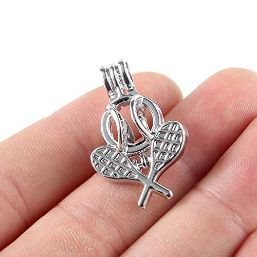 5PC Silver Tennis Racket Pearl Cage Locket Pendant DIY Essential Oil ()