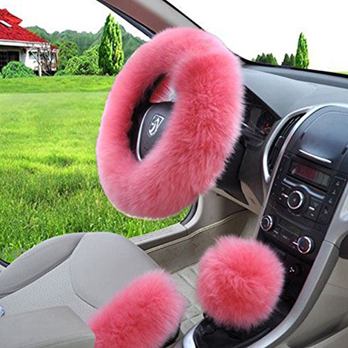 Set Steering Wheel Cover (W-ShiG Winter Warm Faux Wool Handbrake Cover Gear Shift Cover Steering Wheel Cover 14.96