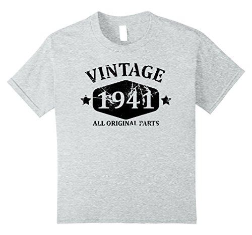 Kids Funny Vintage 1941 76th Birthday Gift T-shirt Best Emoji Tee 10 Heather Grey