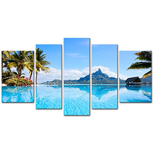Beautiful 5 Piece - Wall Art Decor Poster Painting On Canvas Print Pictures 5 Pieces Beautiful Otemanu Mountain On Bora Bora Island Beach With Palm Tree Seascape Tree Framed Picture For Home Decoration Living Room Artwork