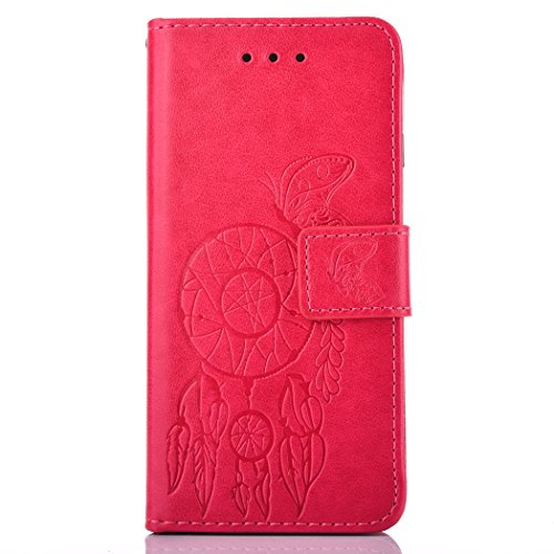 Galaxy J3 Case, BONROY® Samsung Galaxy J3 (2016) J320F Butterfly love flower couple series PU Leather Phone Holster Case, Flip Folio Book Case, Wallet Cover with Stand Function, Card Slots Money Pouch Butterfly Wind chimes red
