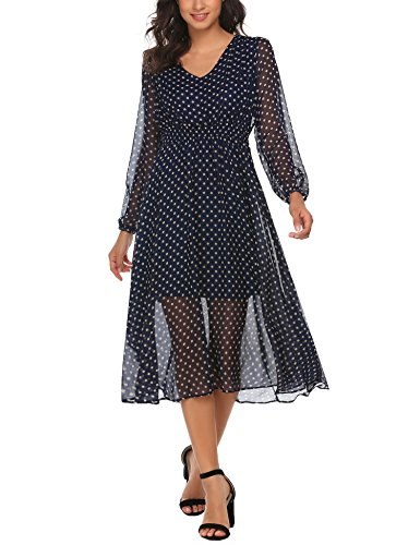 ACEVOG Women's Polka Dot V Neck Belted See Through Casual Chiffon Midi Dress