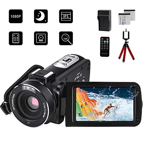 CofunKool Video Camera Camcorder 1080P Full HD 24.0MP 3.0 inch IPS Touch Screen 16X Digital Zoom IR Night Vision Video Recorder with Remote Control Battery Charger Mini Tripod, 2 Batteries