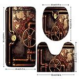 3 Piece Bathroom Mat Set,Industrial,Steam-Pipes-and-Pressure-Gauger-Vintage-Style-Damaged-Timeworn-Engine-Decorative,Bronze-Dark-Orange.jpg,Bath Mat,Bathroom Carpet Rug,Non-Slip