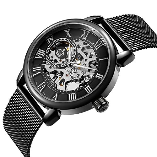 Sweetbless Wristwatch Men's Royal Classic Roman Index Hand-wind Mechanical Watch Black-black