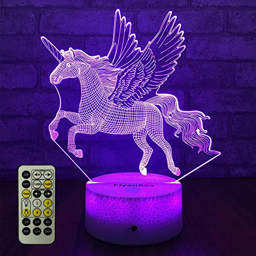 FlyonSea Unicorn Light,Unicorn Night Light Kids 7 Colors Change Remote Control with Timer Optical Illusion Kids Lamp As a Gift Ideas for Boys or Girls (Unicorn)