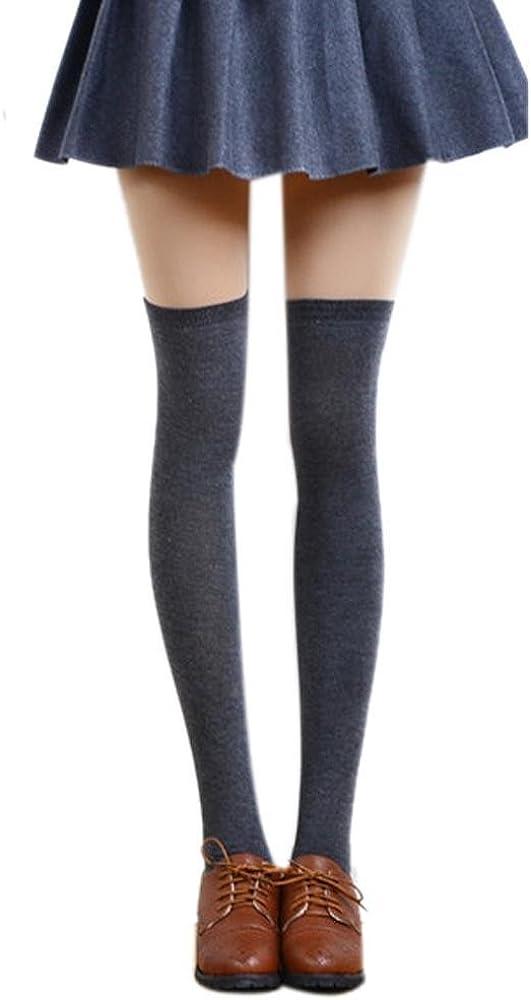 TONSEE Damen Lang Stiefel Einfarbig Baumwolle Socken Overknees Oberschenkel Hoch Str/ümpfe M/ädchen Frauen College Schenkel Gamaschen Boot Socken Cosplay Socken Knie Kniestr/ümpfe