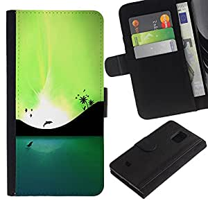 Billetera de Cuero Caso Titular de la tarjeta Carcasa Funda para Samsung Galaxy S5 Mini, SM-G800, NOT S5 REGULAR! / Blue Lagoon Dolphins & Birds / STRONG