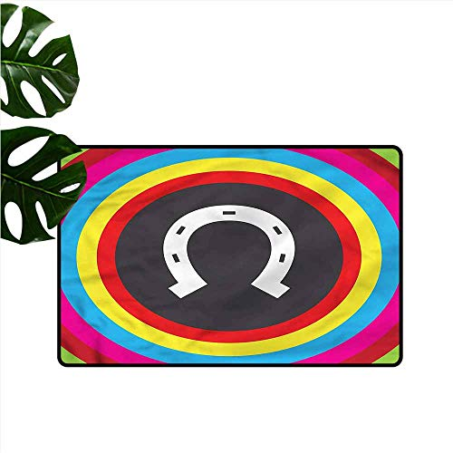 - DUCKIL Pet Door mat Horseshoe Rainbow Colors Circular Super Absorbent mud W20 xL31