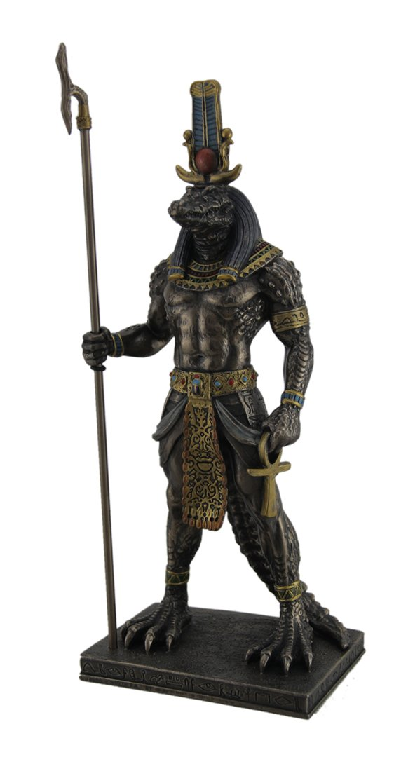 Resin Statues Sobek Ancient Egyptian Crocodile God Of The Nile Bronzed Finish Statue 4.5 X 11.25 X 3 Inches Bronze