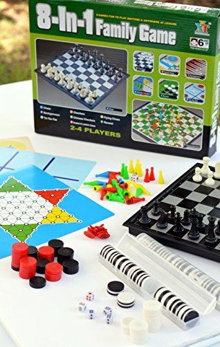 Fun Family Game Night!! Chess, Checkers and More! 8 Board Games in 1 -Best Educational Boredom Buster! by Whiz Kids