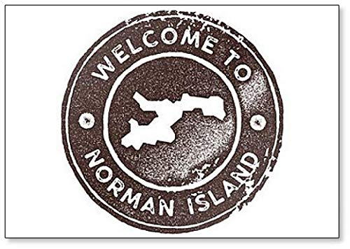(Norman Island Map Vintage Retro Style Illustration Fridge Magnet)