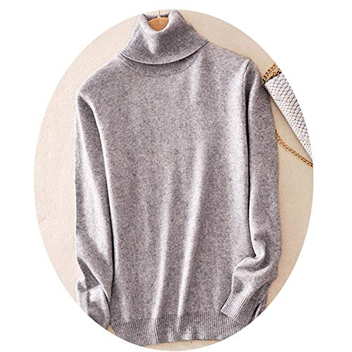 Avory Women Turtleneck Women Knitted Turtleneck Winter Cashmere Sweater,X-Large,LightGray